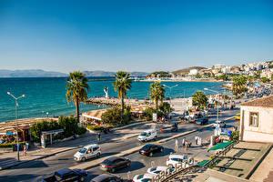 Фотография Турция Море Люди Здания Набережная Пальма Улице Kusadasi город