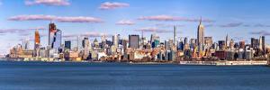 Картинки США Здания Небоскребы Панорама Нью-Йорк Midtown город