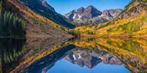 Фотография Америка Горы Озеро Осень Панорамная Отражении Maroon Bells Природа
