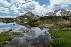 Фотографии США Горы Озеро Облако Carbon County, Wyoming