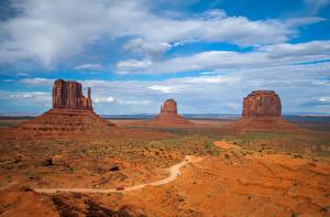 Фотографии США Парк Скалы Облака Monument Valley Природа