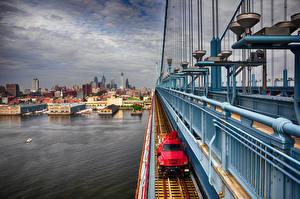 Фотография США Речка Мосты Дома Philadelphia, Benjamin Franklin Bridge Города