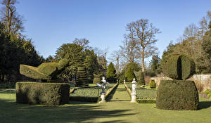 Обои Великобритания Парки Скульптура Дизайн Кусты Газоне Cliveden National Trust Природа