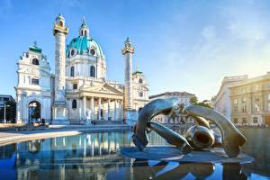 Картинки Вена Австрия Церковь Скульптуры Karlskirche город