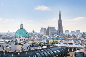 Картинка Вена Австрия Здания Крыша Купола St. Stephen's Cathedral город