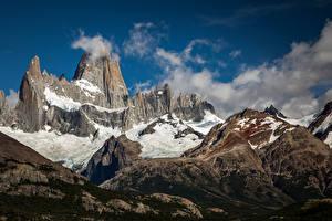 Обои для рабочего стола Аргентина Горы Облака Утес Fitz Roy, Patagonia Природа