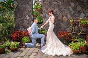 Картинки Азиатка Букет Невесты Жених Платье Свадьба Девушки