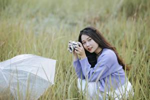 Картинки Азиатки Шатенки Смотрит Зонтом Трава Свитера Рука Фотоаппарат Сидит девушка