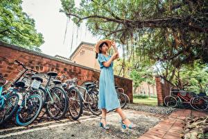 Фотография Азиатки Платье Шляпа Велосипеде девушка