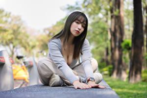 Обои Азиатки Поза Сидя Смотрят Боке девушка