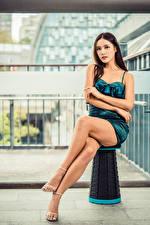 Картинка Азиатка Сидит Ноги Платья Взгляд молодые женщины