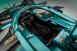 Фото Астон мартин Формула 1 Зеленых Сверху Кабина летчика AMR21, 2021 машина Спорт