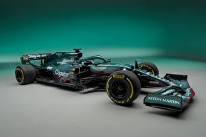 Фото Астон мартин Формула 1 Зеленая Сбоку AMR21, 2021 авто Спорт