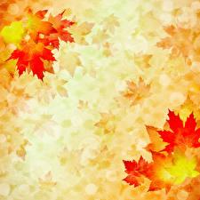 Обои для рабочего стола Осень Рисованные Листва Бумаге Шаблон поздравительной открытки Клёновый Природа
