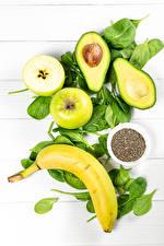 Фото Авокадо Бананы Яблоки Зерна Здоровое питание Продукты питания
