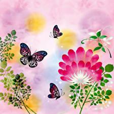 Обои Бабочки Рисованные Ветка Бумага