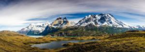 Фотография Чили Гора Парк Панорама Облака Torres del Paine National Park, Patagonia Природа