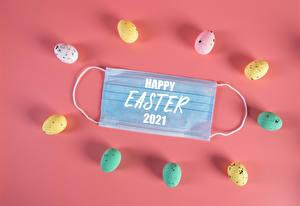Фотография Пасха Коронавирус Маски Цветной фон Яйца Разноцветные Слова Инглийские 2021 Еда