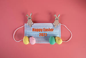 Фотографии Пасха Коронавирус Маски Кролик Цветной фон Яиц Разноцветные Текст Инглийские Пища