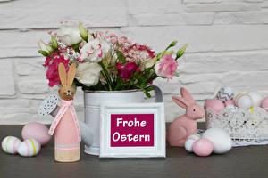 Фото Пасха Кролик Лизантус Гвоздики Розы Слово - Надпись Немецкий Яйцами Цветы Еда