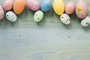 Фотографии Пасха Доски Яйцами Разноцветные Шаблон поздравительной открытки Продукты питания