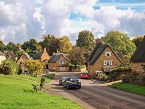 Фотография Англия Городки Дома Дороги Улица Wroxton, Oxfordshire