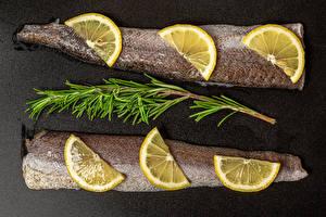 Обои для рабочего стола Рыба Лимоны Еда