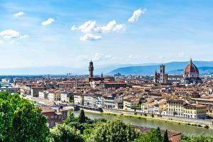 Картинка Флоренция Италия Реки Дома Горизонт Купол Arno город