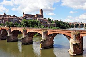 Картинки Франция Река Мост Albi, Tarn Города