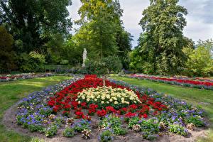 Обои для рабочего стола Германия Потсдам Парки Георгины Скульптура Дизайн Деревья Park Sanssouci Природа