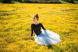 Обои Луга Сидящие Балет молодая женщина