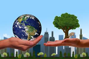 Обои для рабочего стола Здания Земли Руки Деревья ecology