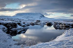 Фото Исландия Озеро Горы Облака Myvatn