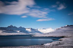 Обои Исландия Горы Fáskrú∂sfjör∂ur