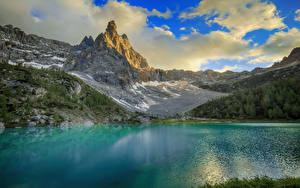 Обои для рабочего стола Италия Гора Озеро Альп Облака Dolomites Природа