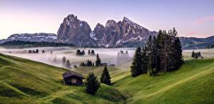 Картинки Италия Горы Утро Альп Туман Дерево South Tyrol, Dolomites Природа