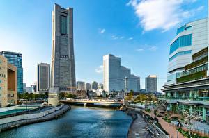 Обои Япония Здания Речка Мосты Yokohama, Ooka river Города