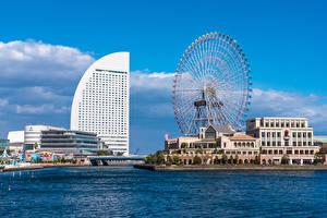 Фотография Япония Здания Колесом обозрения Гостиница Yokohama Города