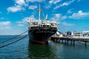 Фотографии Япония Корабли Причалы NYK Hikawamaru, Yokohama город