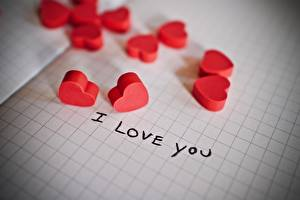 Картинка Любовь Лист бумаги Сердце Слово - Надпись Английский