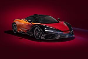 Картинки Макларен Цветной фон 2020-21 MSO 765LT Strata Worldwide автомобиль