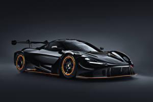 Фото Макларен Сером фоне Черный Металлик 2021 720S GT3X Автомобили