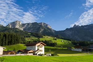 Обои для рабочего стола Горы Лес Луга Австрия Альп South Tyrol Природа