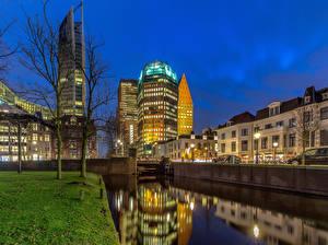 Обои Голландия Дома Вечер Водный канал The Hague