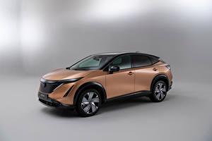 Обои для рабочего стола Nissan Металлик CUV Сером фоне Ariya e-4orce, Worldwide, 2021 может добавить тэг электромобиль или ещё как? автомобиль