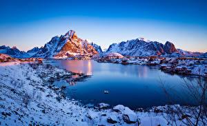 Фотография Норвегия Лофотенские острова Гора Утро Reine Природа