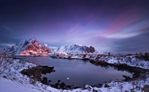 Фотографии Норвегия Лофотенские острова Горы Reine Природа