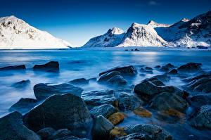 Фото Норвегия Лофотенские острова Гора Камень Skagsanden beach Природа