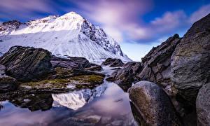 Фото Норвегия Горы Камни Лофотенские острова Storsandnes Природа
