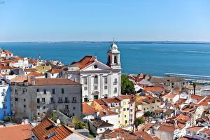 Обои Португалия Лиссабон Здания Бухты Mar da Paglia